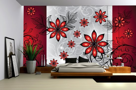 Gray | Red Photomural, wallcovering