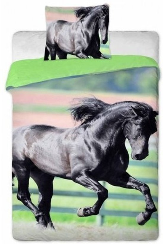 Animal Pictures Paard Black Beauty - Dekbedovertrek - Eenpersoons - 140 x 200 - Multi