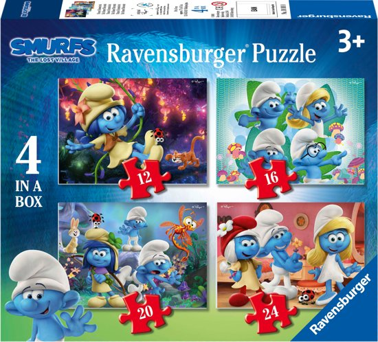 Ravensburger The Smurfs, Smurfige avonturen. Vier puzzels - 12+16+20+24 stukjes - kinderpuzzel
