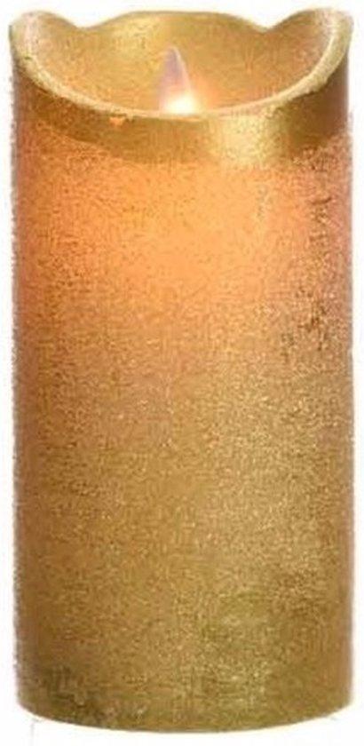 Gouden led kaars flakkerend 15 cm