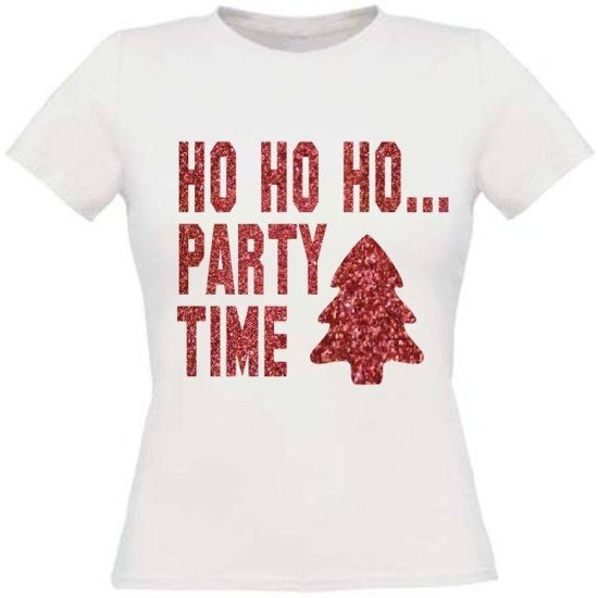 Ho ho ho party time T-shirt maat XL Dames wit