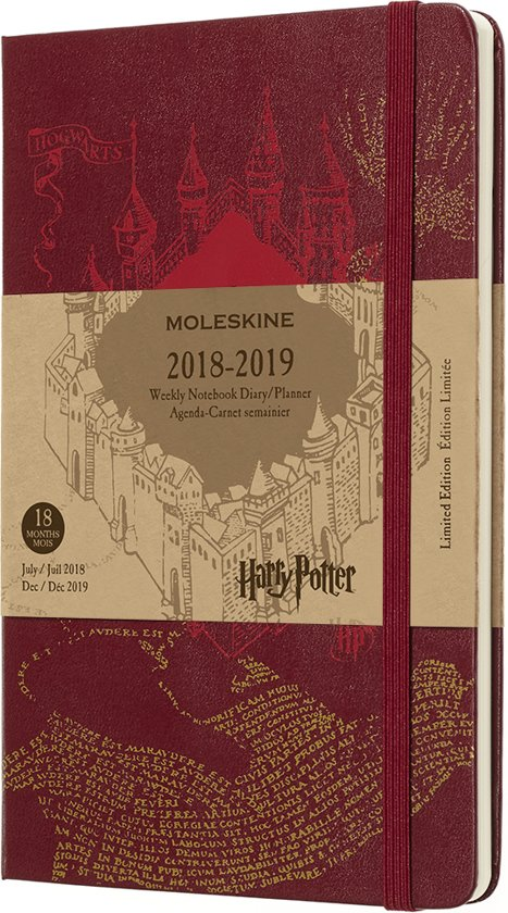 Moleskine agenda 2018-2019 - 18 maanden - LE Harry Potter rood - Large - Hard cover
