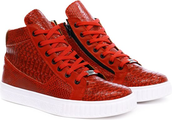 Halfhoog Met Print Manzotti Kleur Heren Snake Van Rood Sneakers qAwYAgtU
