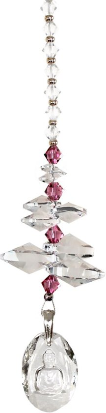 JwelU Suncatcher Crystal Swarovski Buddha Crystal Light Rose