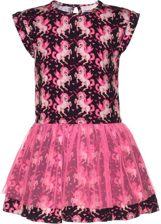 40dfc8e421bcae Mim-pi Meisjes Jurk - Zwart met roze - Maat 146