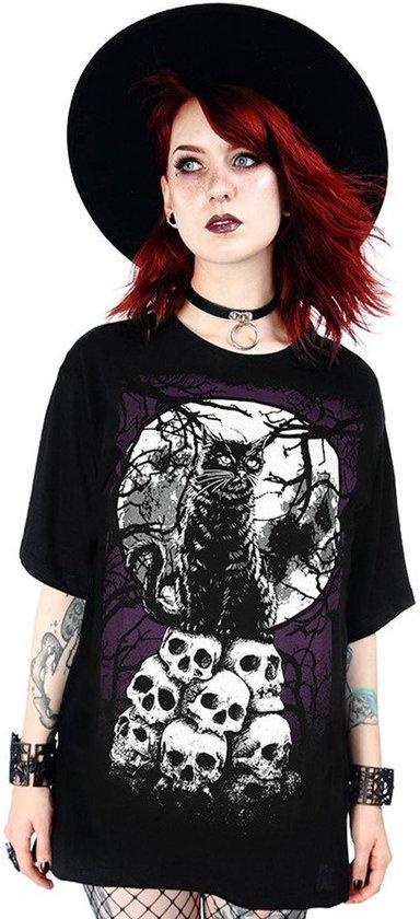 Restyle Dames Tshirt -S- Morbid Cat Zwart