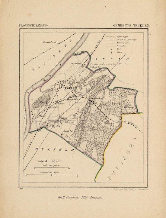 Historische kaart, plattegrond van gemeente Tegelen in Limburg uit 1867 door Kuyper van Kaartcadeau.com