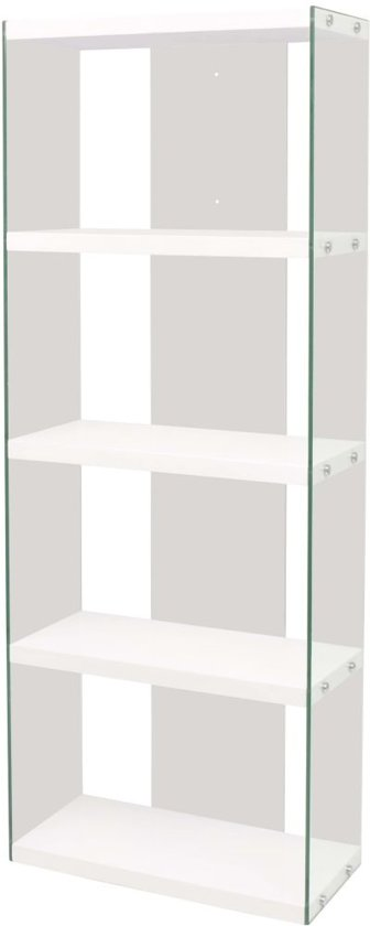 Wonderbaarlijk bol.com | vidaXL Boekenkast met 4 schappen glas MDF hoogglans wit FZ-02