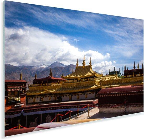 De gekleurde daken van de Jokhang-tempel op een zonnige dag Plexiglas 30x20 cm - klein - Foto print op Glas (Plexiglas wanddecoratie)