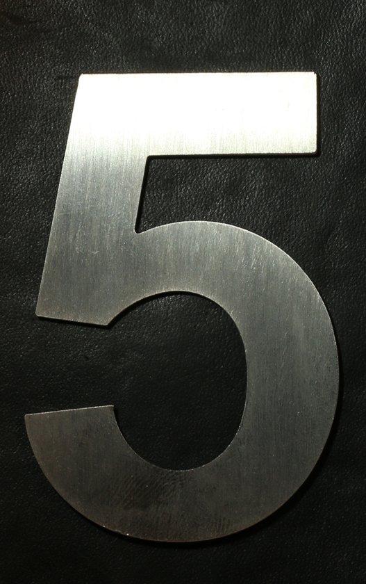 Inox huisnummer 7cm - cijfer 5