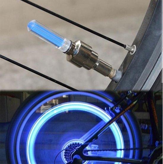 universeel led lichtgevend ventiel dopje firefly fiets motor auto blauw