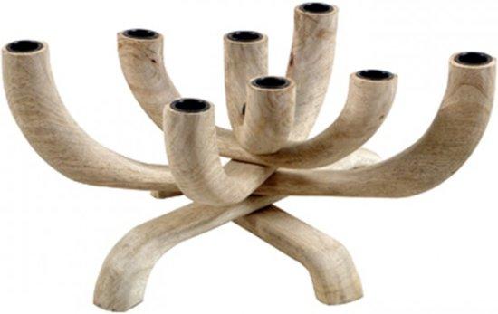 Kandelaar hout, 8 armig