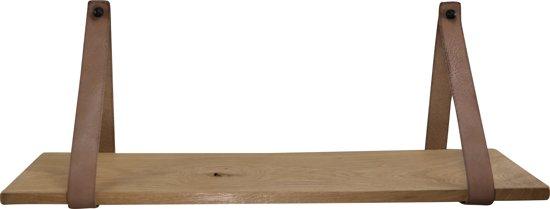 Plank Voor Lijstjes.Leren Plankdragers Met Eiken Plank 100 Cm 2 Leren Banden Taupe Wanddecoratie