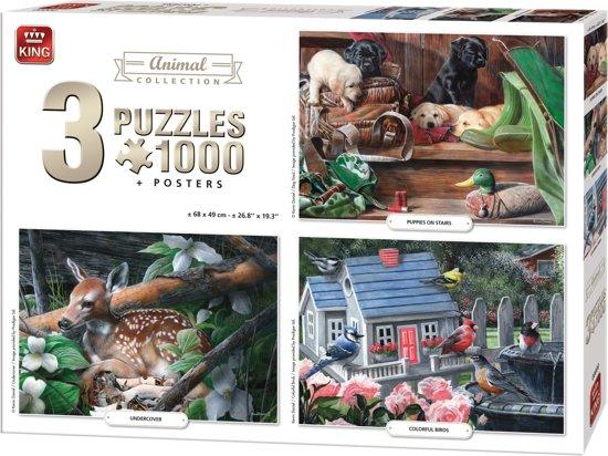 King 3 in 1 Puzzel 1000 Stukjes (68 x 49 cm) - Dieren Collectie - Drie Legpuzzels met Voorbeeldposters - Volwassenen