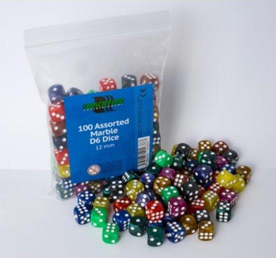 Afbeelding van het spel Marble Dobbelstenen 12mm - Assorti (100 stuks)