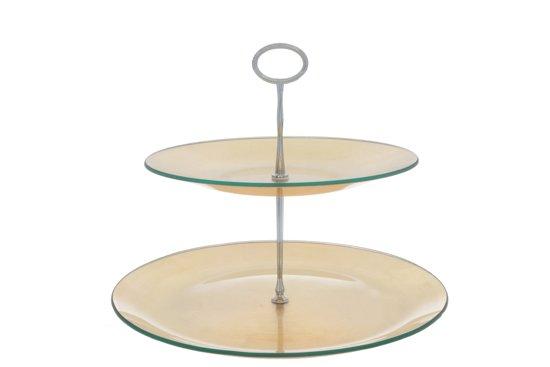 Cosy & Trendy Etagere Met 2 Niveaus - Glas - Ø 25-31 cm x 25 cm - Gold