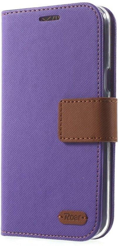 Roar - Samsung Galaxy J5 Cover - Wallet Case Denim Paars in Papenvoort