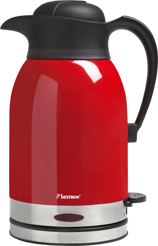 Bestron draadloze waterkoker thermo 1,5 L 1600 W rood/roestvrij staal