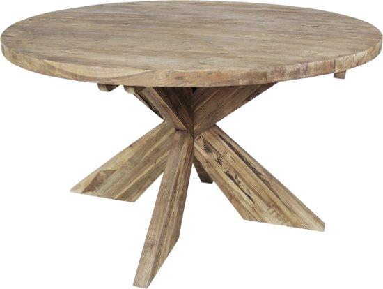 Bol.com hsm collection tafel cross rond 130x130 cm blank teak