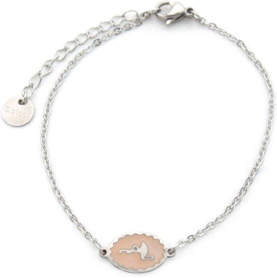 Armband met Flamingo - RVS - Lengte verstelbaar 17-20 cm - Zilverkleurig en Roze - Musthaves