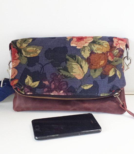 6a10c5b4141 Toetie & Zo Damestas Leer Flowers, schoudertas, crossover tas, heuptas,  handgemaakt