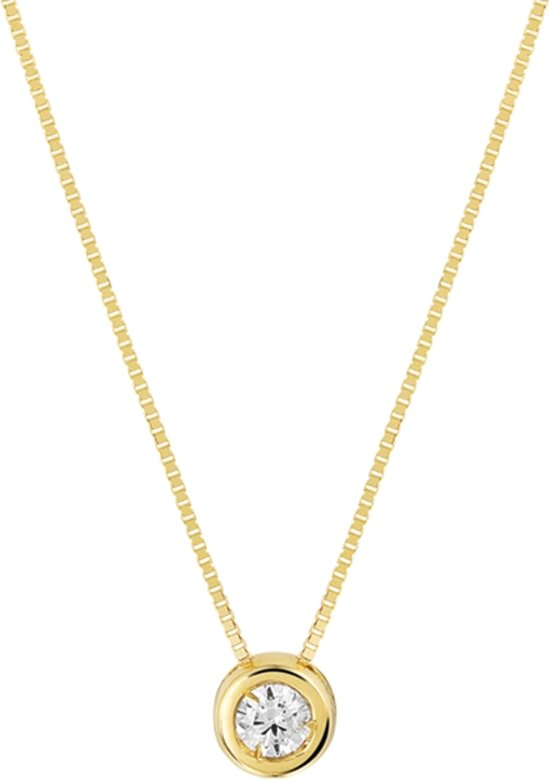 The Jewelry Collection Ketting Zirkonia 0,7 mm 42 + 2 cm - Geelgoud