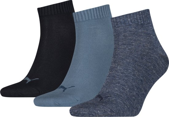 PUMA Quarter Plain Enkelsokken - 3 pack - Denim Blauw - Maat 47-49