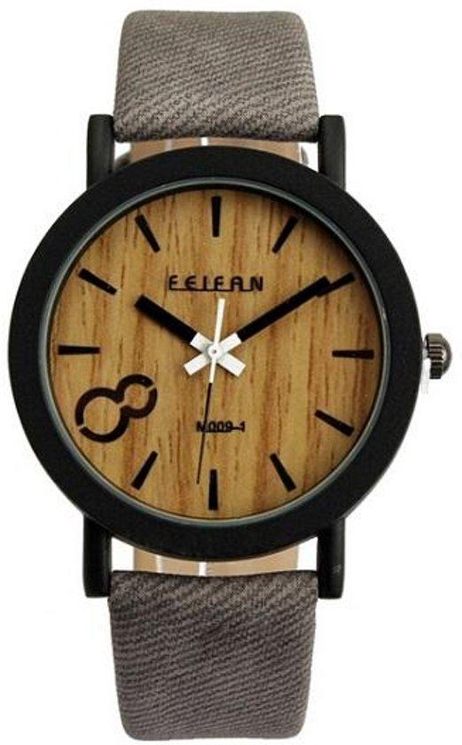 Fashion Favorite - Houtlook Horloge - Kunststof - Grey/Grijs - 38 mm