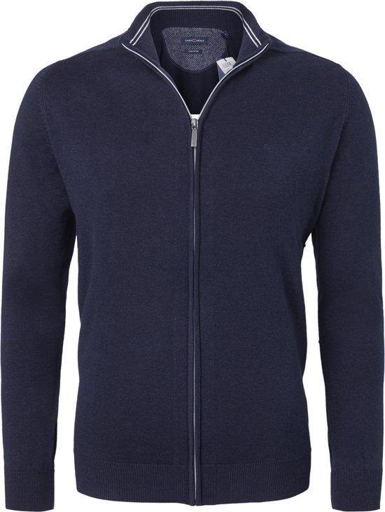 Casa Moda heren vest katoen - marine blauw (met rits) -  Maat M