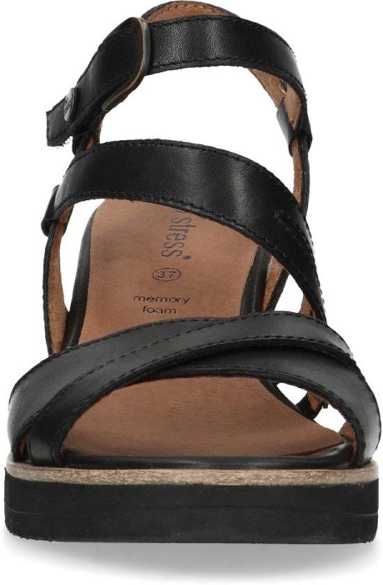 No Stress - Dames - Zwarte leren sandalen met sleehak
