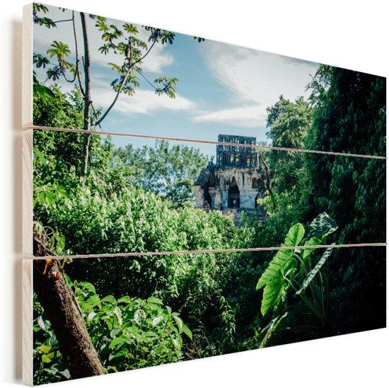 Jungle ruïne in Palenque Mexico Vurenhout met planken 120x80 cm - Foto print op Hout (Wanddecoratie)