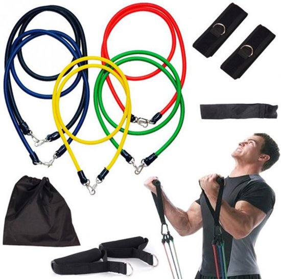 XL Fitness Elastiek Set - Resistance Power Band Tube - Fitnessbanden / Weerstandskabel