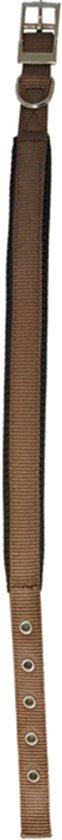 Nylon halsband 'SP' dubbel 25 mm x 65 cm, bruin.
