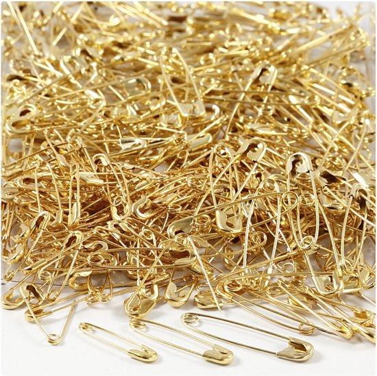 Veiligheidsspelden, l: 19+22+28 mm, dikte 0,5-0,6 mm, goud, 600div