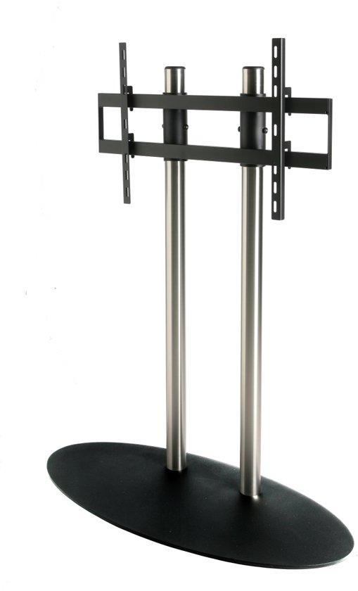 Cavus RVS vloerstandaard met zwarte voet voor TV's tot 75 inch - 100 cm hoog