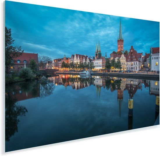 Havengebied van Lübeck in de avond Plexiglas 30x20 cm - klein - Foto print op Glas (Plexiglas wanddecoratie)