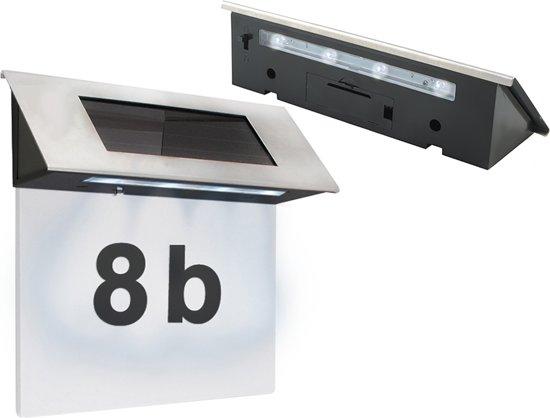 rvs huisnummer met solar led verlichting huisnummerverlichting verlicht huisnummerbord op zonne energie solar