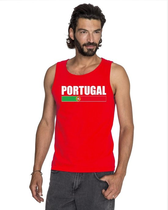 Rood Portugal supporter mouwloos shirt heren - Portugal singlet shirt/ tanktop 2XL