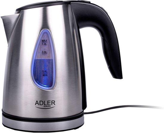 Adler AD 1203 - Elektrische waterkoker - snoerloos - RVS - 1.0 L