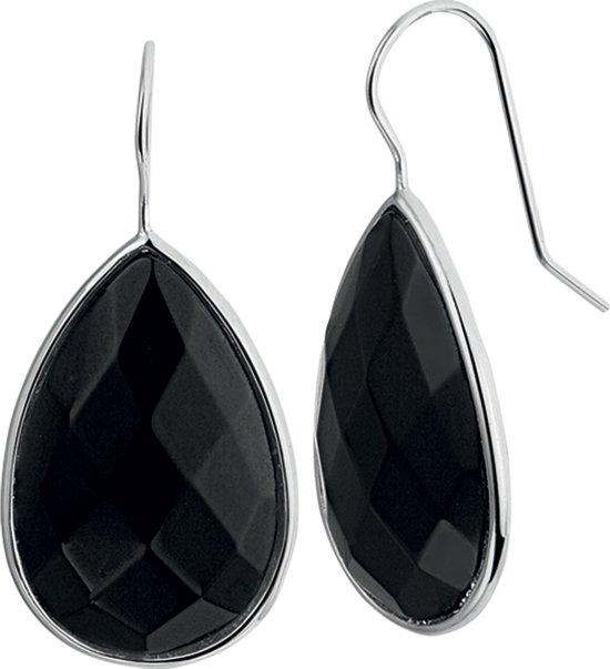 The Jewelry Collection Oorhangers Franse Haak Onyx - Zilver Gerhodineerd