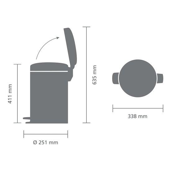 Brabantia NewIcon Pedaalemmer 12 Liter Mat Zwart