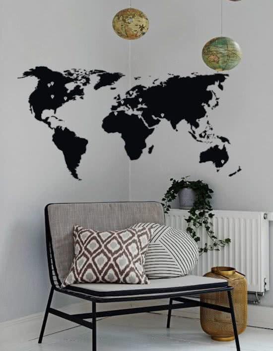 muursticker wereldkaart zwart wit woonkamer kantoor slaapkamer modern decoratie