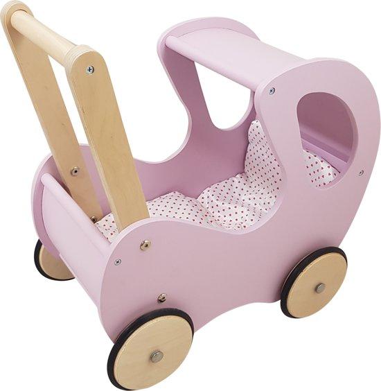 Playwood - Houten Poppenwagen roze klassiek met kap - inclusief dekje wit met roze hartjes