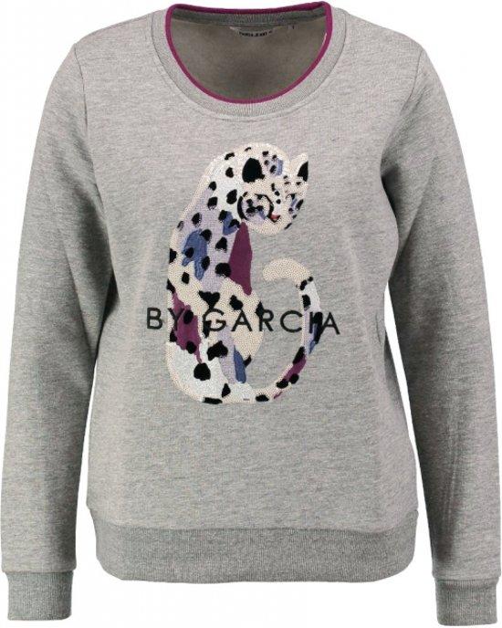 Garcia zachte grijze sweater met pailletten Maat S