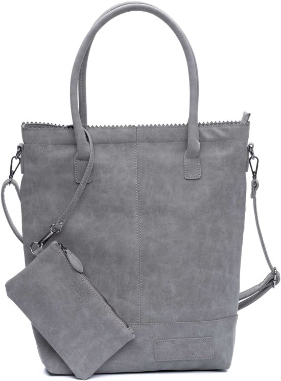 34f7b189b6a Zebra Trends Natural Bag Kartel met Rits en Schouderband - Dark Grey