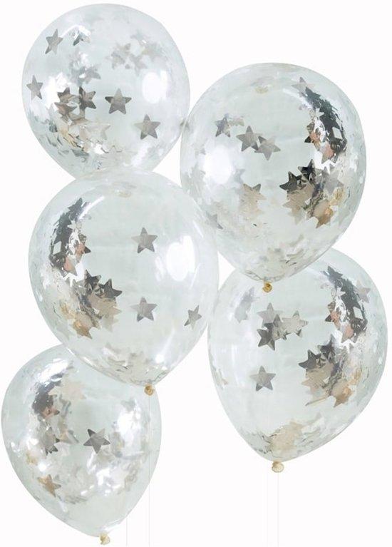 Ginger Ray Metallic Star - Ballon gevuld met zilveren ster confetti Ø 28 cm - Set-5 Valentinaa