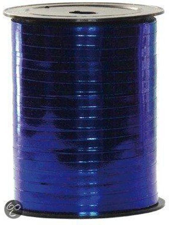 Metallic blauw cadeau lint 250 meter
