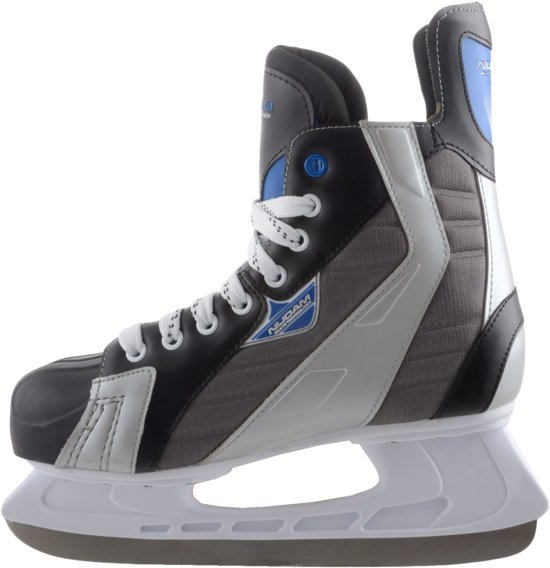 Nijdam IJshockeyschaats Polyester - Deluxe - Zwart/Grijs - Maat 46