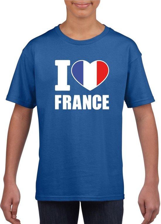 Blauw I love France supporter shirt kinderen - Frankrijk shirt jongens en meisjes S (122-128)