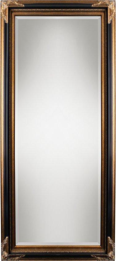 Spiegel - Gwen- zwart / antiek goud - buitenmaten breed 61 cm x hoog 181 cm.